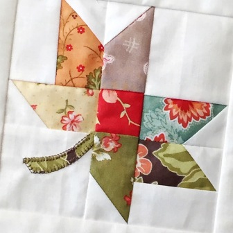 Twirl Quilt Block, by me. Pattern by Fig Tree Quilts Fabric